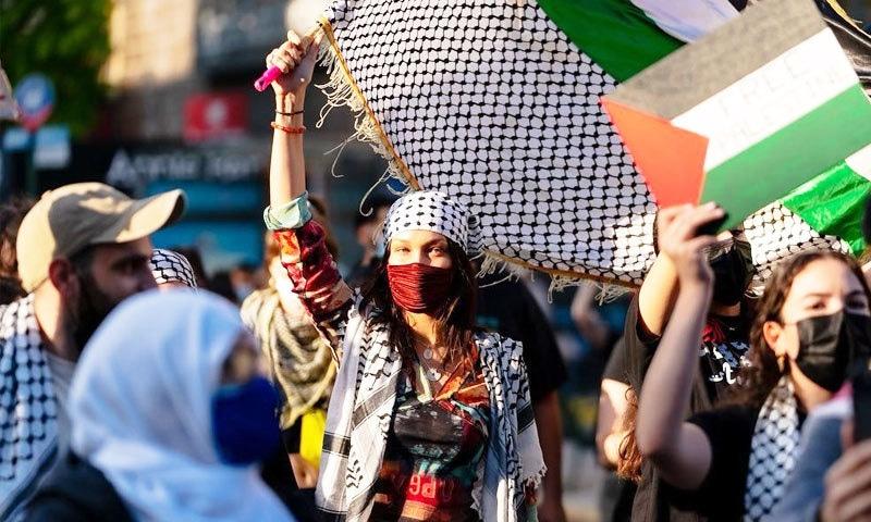 بیلا حدید نے 16 مئی کو نیویارک میں فلسطین کے حق میں ہونے والے مظاہرے میں شرکت کی تھی—فوٹو: انسٹاگرام