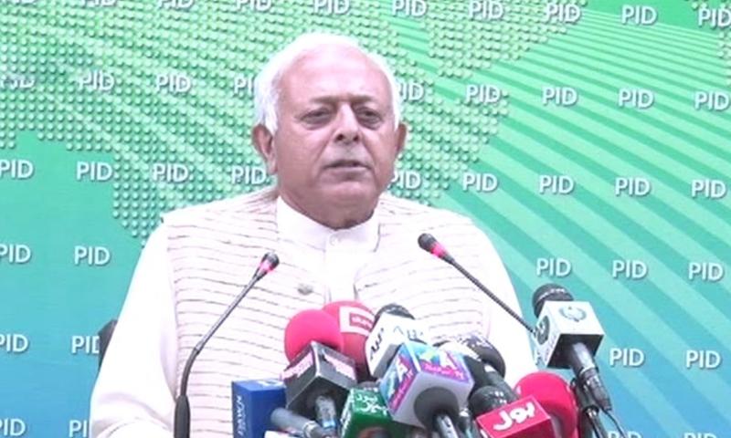 Federal Aviation Minister Ghulam Sarwar Khan addresses the media in Islamabad on Monday. — DawnNewsTV