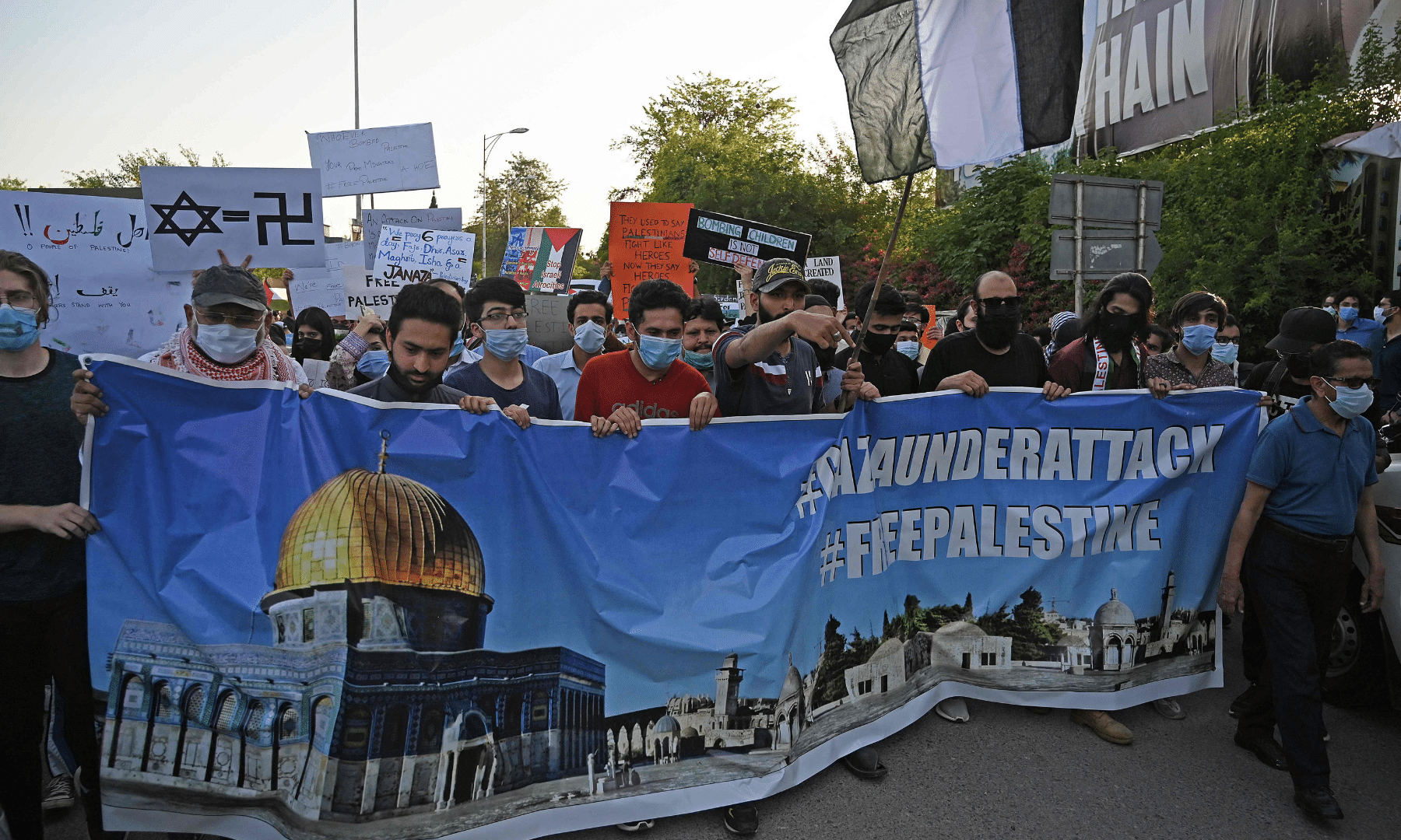 Protesters at an anti-Israel rally in Islamabad. — AFP