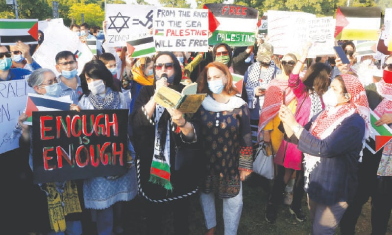 ISLAMABAD: Civil society activists take part in a demonstration in support of Palestinian people during an anti-Israel rally outside the National Press Club on Monday.—Mohammad Asim / White Star