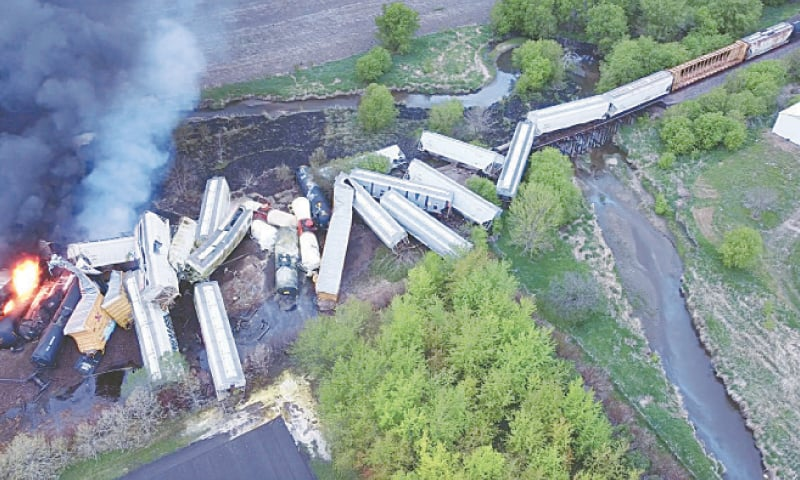 Sibley: Fire is seen on a Union Pacific train carrying hazardous material that derailed in the US state of Iowa on Sunday.—Reuters