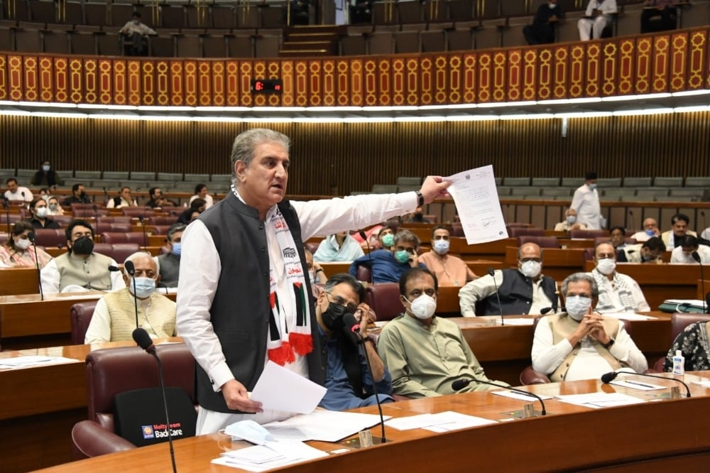 Foreign Minister Shah Mahmood Qureshi speaks during the National Assembly session on Monday. — DawnNewsTV