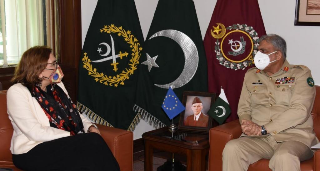 Ambassador of European Union Androulla Kaminara called on COAS Gen Bajwa on Monday. — Photo courtesy ISPR