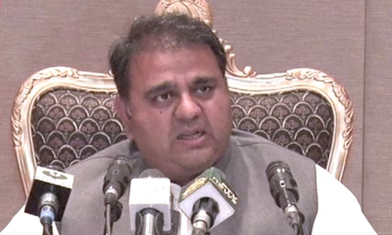 Information Minister Fawad Chaudhry addresses a press conference in Islamabad after a meeting of the federal cabinet. — DawnNewsTV
