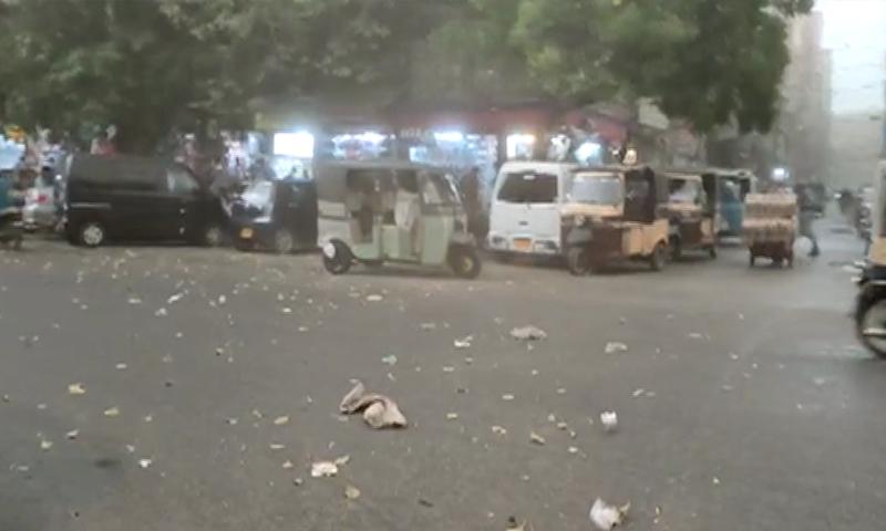 The city experienced gusty winds followed by light rain on Tuesday.  — DawnNewsTV