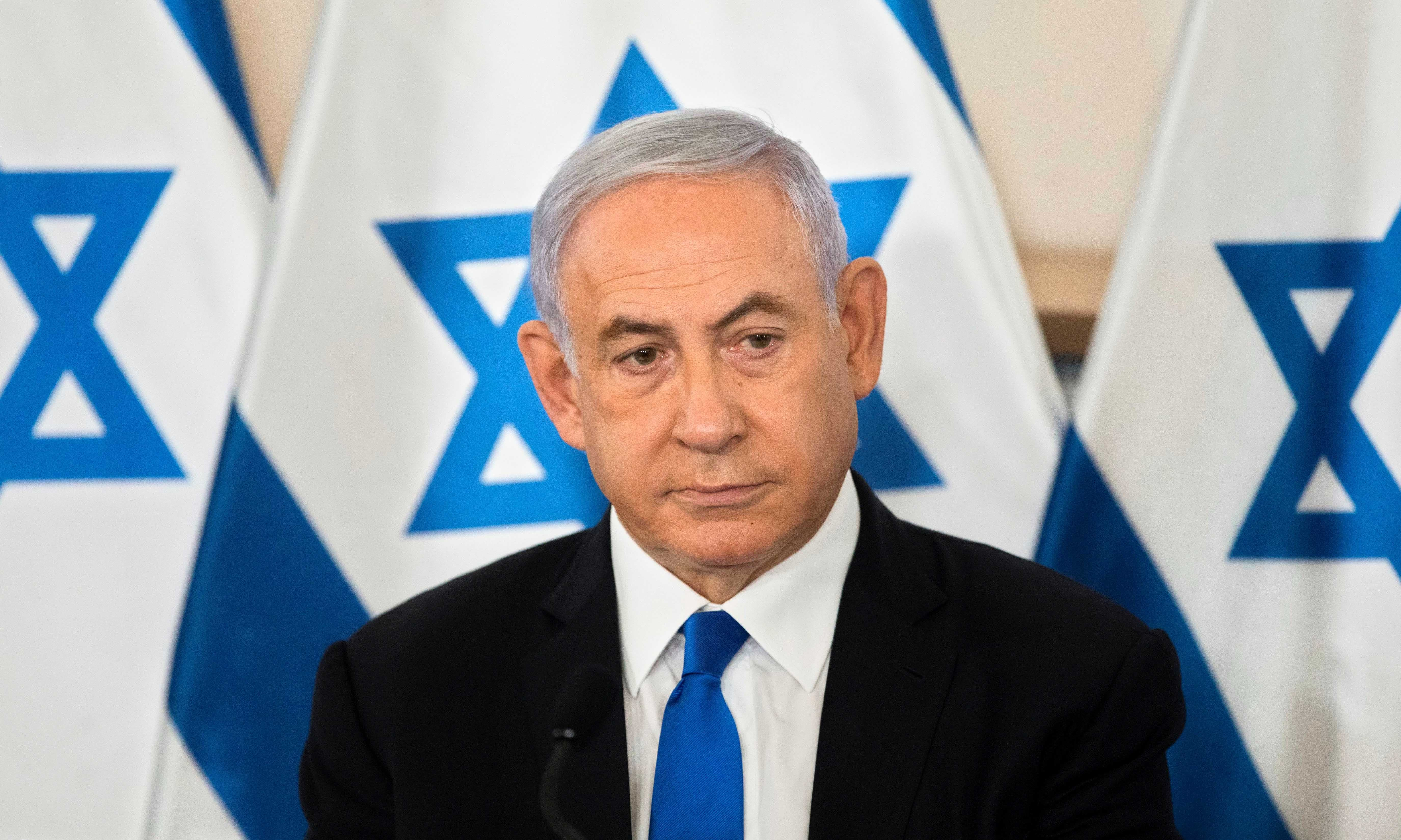 Israeli Prime Minister Benjamin Netanyahu looks on during a briefing to ambassadors to Israel at a military base in Tel Aviv on May 19. — Reuters