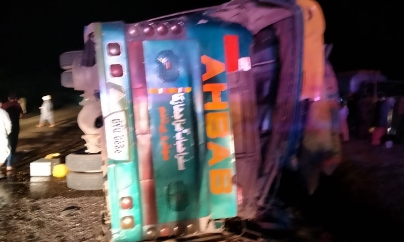 A passenger bus, which was travelling from Multan to Karachi, overturned in Rohri. — Photo provided by Imtiaz Ali