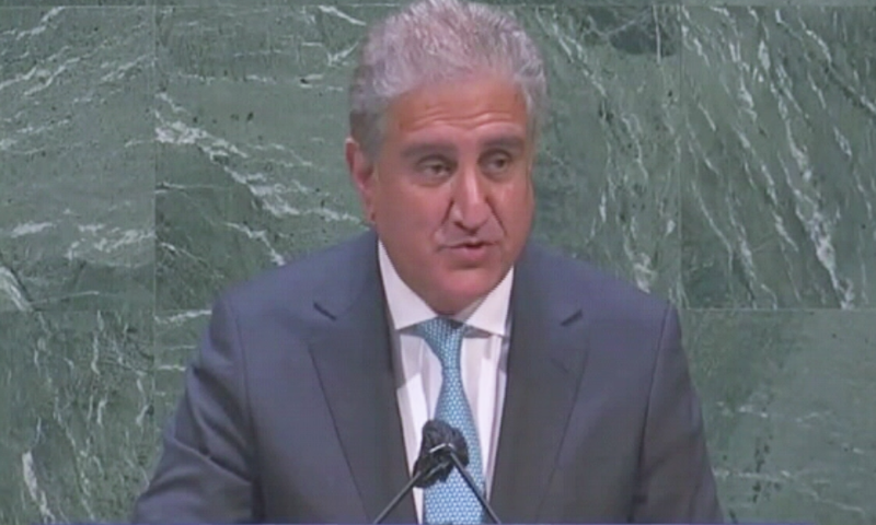 Foreign Minister Shah Mehmood Qureshi addresses an emergency meeting of the United Nations General Assembly (UNGA) called to discuss Israel's devastating violence against the Palestinians on Thursday. — DawnNewsTV