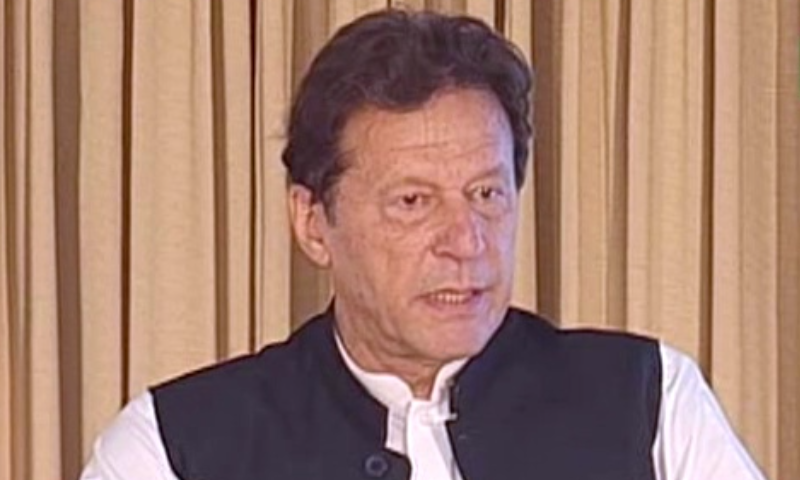Prime Minister Imran Khan speaks during the inauguration of the Karachi Nuclear Power Plant Unit-2 (K-2) on Friday. — DawnNewsTV