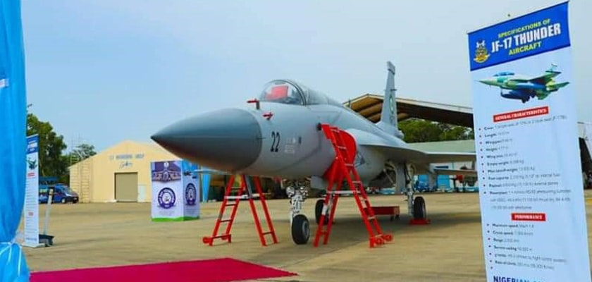 A JF-17 Thunder aircraft on display at Nigerian Air Force base Makudri.  — Photo provided by author