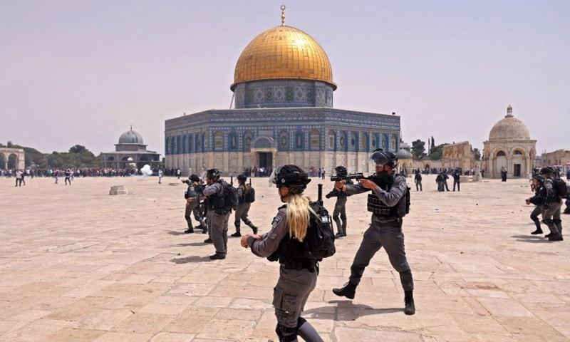 اسرائیلی پولیس نے توڑ پھوڑ کی-فوٹو: اے ایف پی
