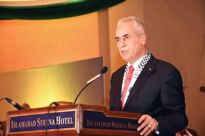Palestinian Ambassador to Pakistan Ahmed Rabei giving a speech in Islamabad. — Photo courtesy Embassy of Palestine/File