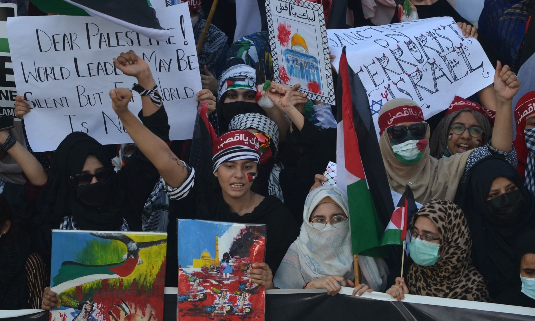 Supporters of the Jamaat-e-Islami (JI) take part in a protest against Israel's attacks on the Palestinian Gaza Strip in Karachi on May 23.  — AFP