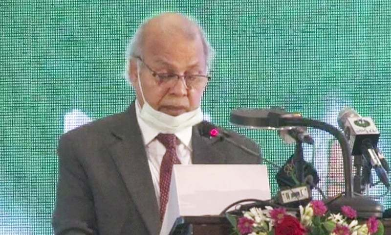 In this file photo, Chief Justice Gulzar Ahmed speaks at  the closing ceremony of a training workshop for District Commerical Court judges in Lahore. — DawnNewsTV/File