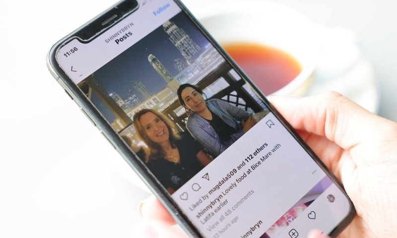 This picture taken in Dubai on May 23 shows a photo purportedly of the Gulf emirate's Sheikha Latifa (R) with an unidentified woman at a restaurant in downtown Dubai published on an unverified Instagram account this week. — AFP
