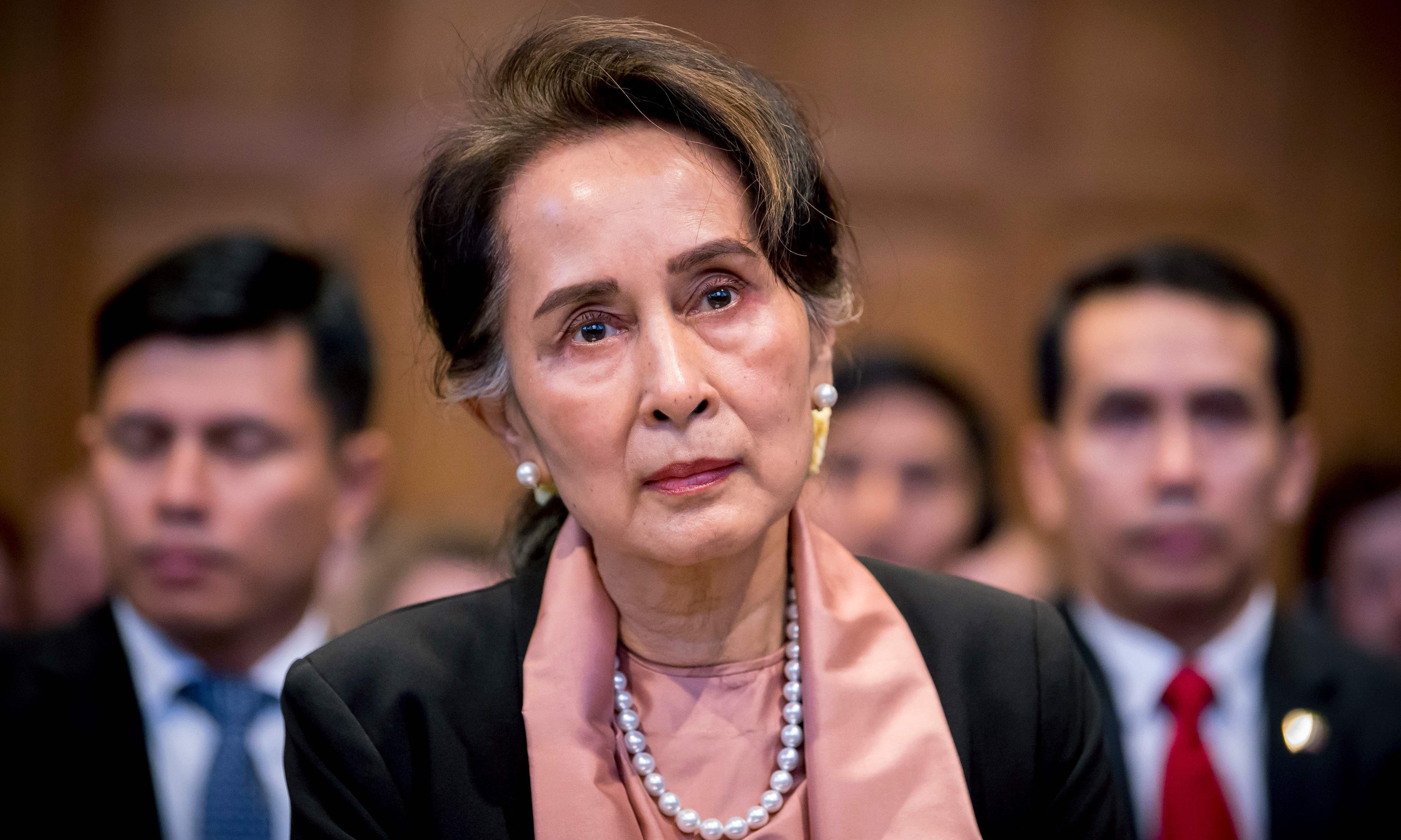 Myanmar's State Counsellor Aung San Suu Kyi attending the start of a three-day hearing on the Rohingya genocide case before the UN International Court of Justice at the Peace Palace of The Hague. — AFP/File