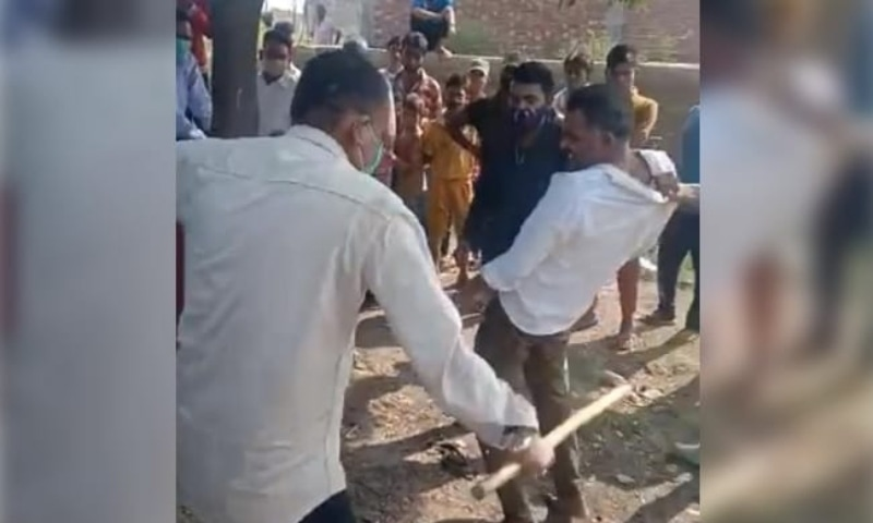 This screengrab shows the victim being beaten up. — Photo courtesy NDTV