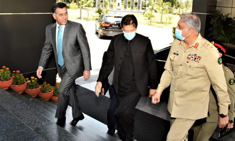 Prime Minister Imran Khan arrives at the Inter-Services Intelligence (ISI) Secretariat on Monday. — Photo courtesy Prime Minister's Office