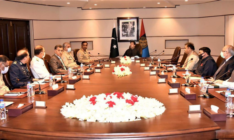 Prime Minister Imran Khan and federal ministers are seen at the Inter-Services Intelligence (ISI) Secretariat on Monday. — Photo courtesy Prime Minister's Office