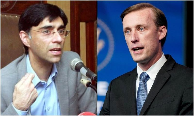Pakistan National Security Adviser Dr Moeed Yusuf and his American counterpart Jake Sullivan. — APP/Reuters