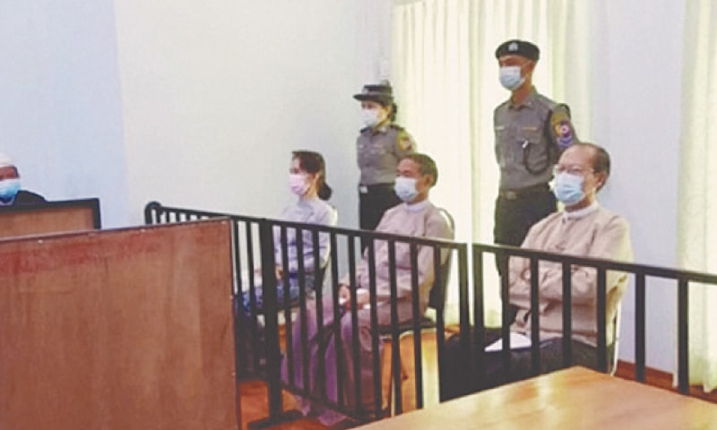 AUNG San Suu Kyi and former president Win Myint appear at a court in Naypyidaw on Monday.—Reuters