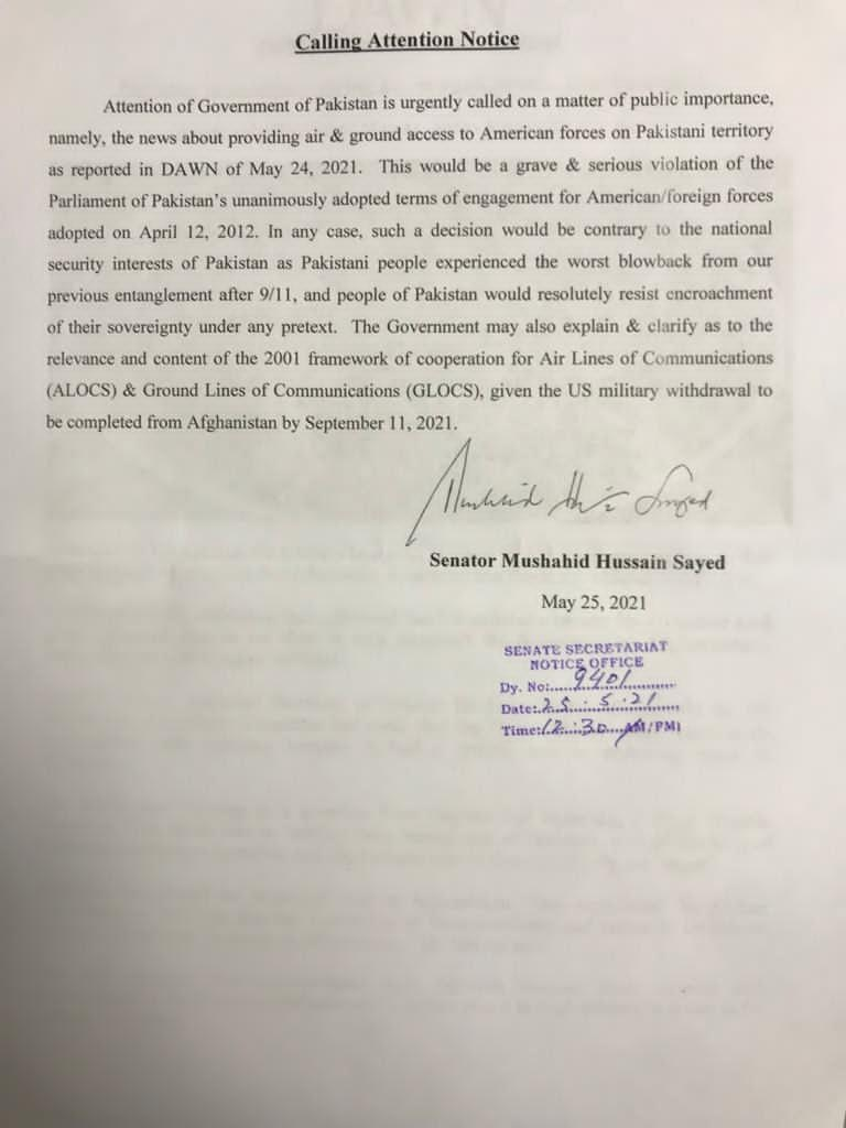 Senator Mushahid Hussain Sayed's calling attention notice.