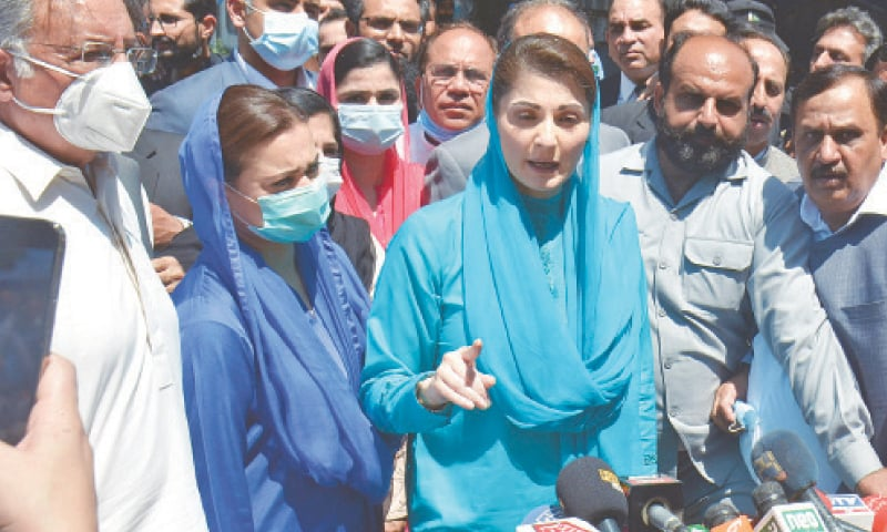 ISLAMABAD: PML-N vice president Maryam Nawaz talking to the media outside the Islamabad High Court on Tuesday.—Tanveer Shahzad / White Star