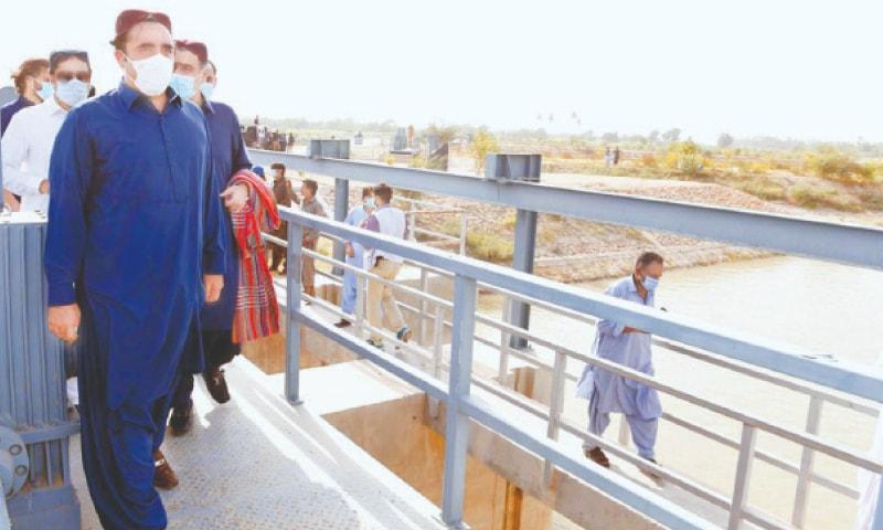 Bilawal Bhutto-Zardari tours the Phuleli Canal Rehabilitation Project in Tando Mohammad Khan on Wednesday.—PPI