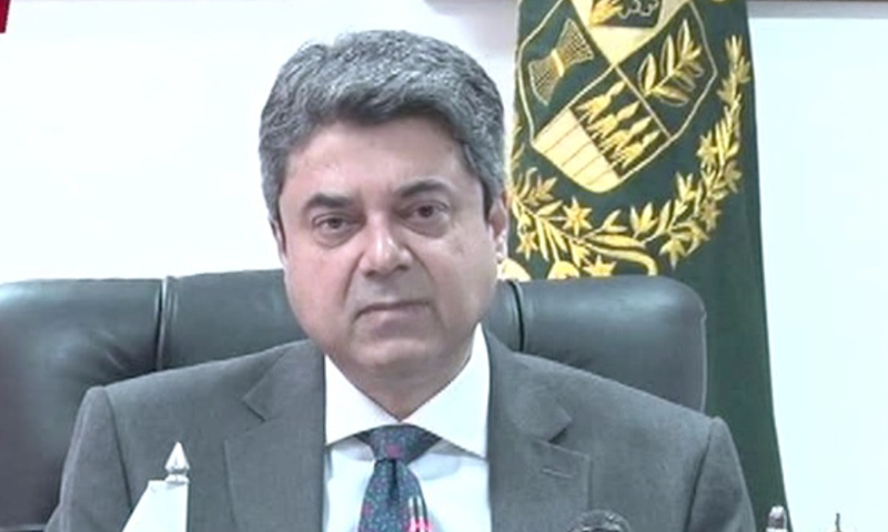 Federal Minister for Law and Justice Barrister Farogh Naseem addresses a press conference on Wednesday. — DawnNewsTV