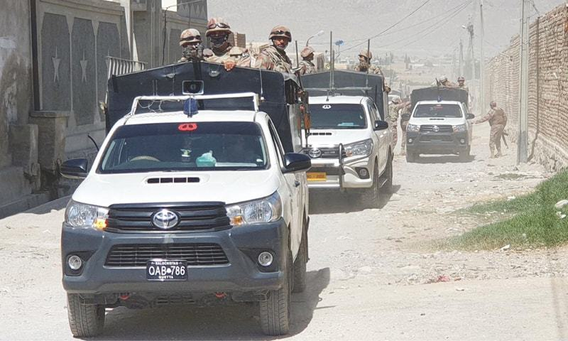 In this file photo, security forces inspect the Eastern Bypass area in Labour Colony of the Balochistan capital. — Online/File