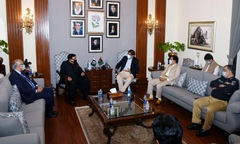 Interior Minister Sheikh Rashid Ahmed meets Sindh Chief Minister Murad Ali Shah. — Photo provided by Sindh CM House