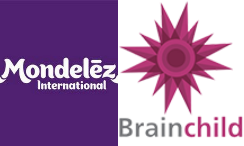 This combination photo shows the logos of Mondelez International — a snacks company — and communications agency Brainchild. — Online/Website