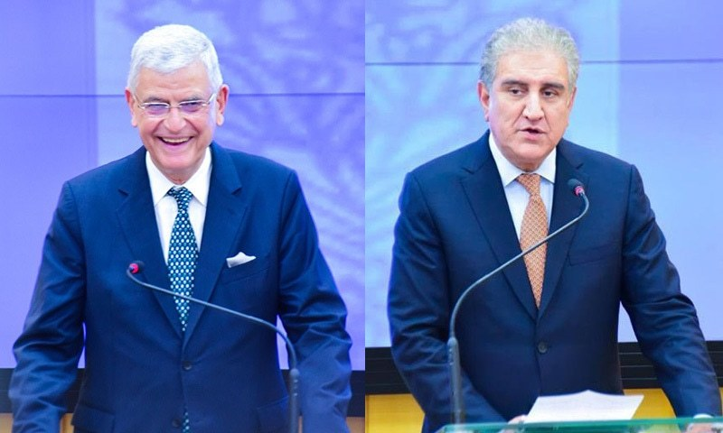 United Nations General Assembly (UNGA) President Volkan Bozkir (left) and Foreign Minister Shah Mahmood Qureshi address a press conference in Islamabad on Thursday. — DawnNewsTV