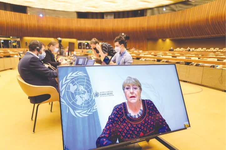 GENEVA: United Nations High Commissioner for Human Rights Michelle Bachelet is delivering her speech remotely at the opening of a UN Human Rights Council emergency meeting on occupied Palestinian territories and East Jerusalem on Thursday. The meeting decided to launch an investigation into violations surrounding the latest Gaza violence.—AFP