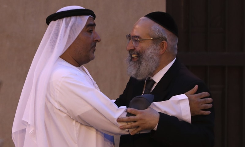Ahmed Al Mansuri (L), founder of the Crossroads of Civilisation private museum, greets a rabbi at an exhibition commemorating the Holocaust. Israel's top diplomat to the United Arab Emirates attended a ceremony in Dubai on the grounds of the Arabian Peninsula's first permanent exhibition to commemorate the Holocaust. — AP