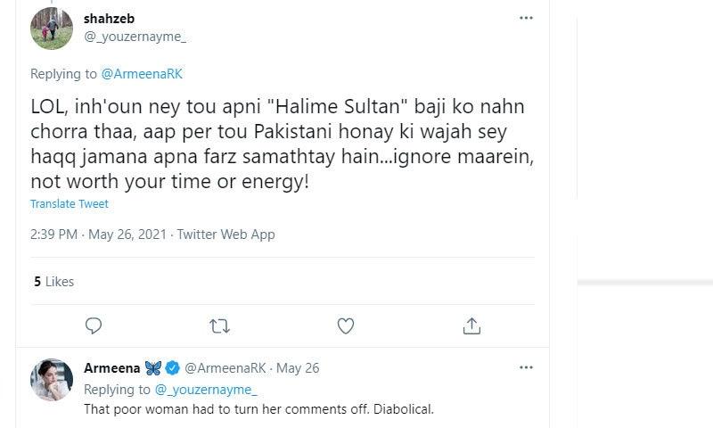بعض مداحوں نے اداکارہ کو بتایا کہ پاکستانی لوگ غیر ملکی اداکاراؤں پر بھی تنقید کرتے وہ تو پھر بھی ملکی ہیں—اسکرین شاٹ