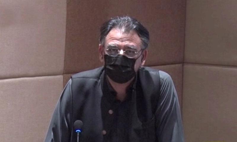 وفاقی وزیر اسد عمر کا  اسلام آابد چیمبرز آف کامرس سے خطاب—تصویر: ڈان نیوز