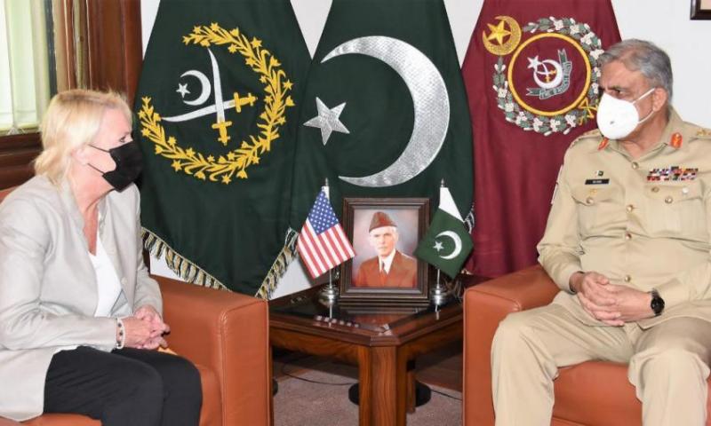 United States envoy Angela Aggeler meets Army Chief Gen Qamar Javed Bajwa on Friday. — Photo courtesy ISPR