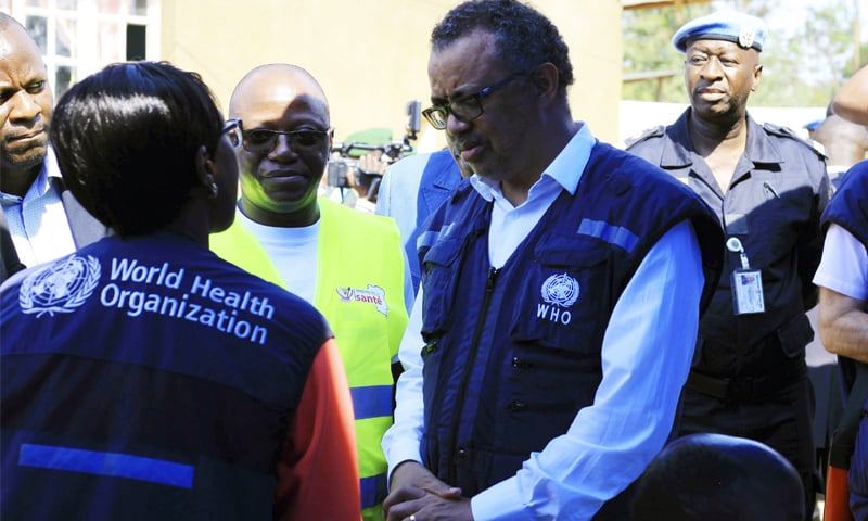 In this file photo, WHO Director General Dr Tedros Adhanom Ghebreyesus speaks to a health official at a newly established Ebola response centre in Beni, Democratic Republic of Congo. — AP