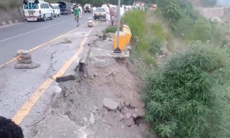 The accident took place near Zaminabad village, some 24 kilometres south of Muzaffarabad, on Muzaffarabad-Kohala road, around 2:30am, a police official said. — Photo courtesy Tariq Naqash Twitter