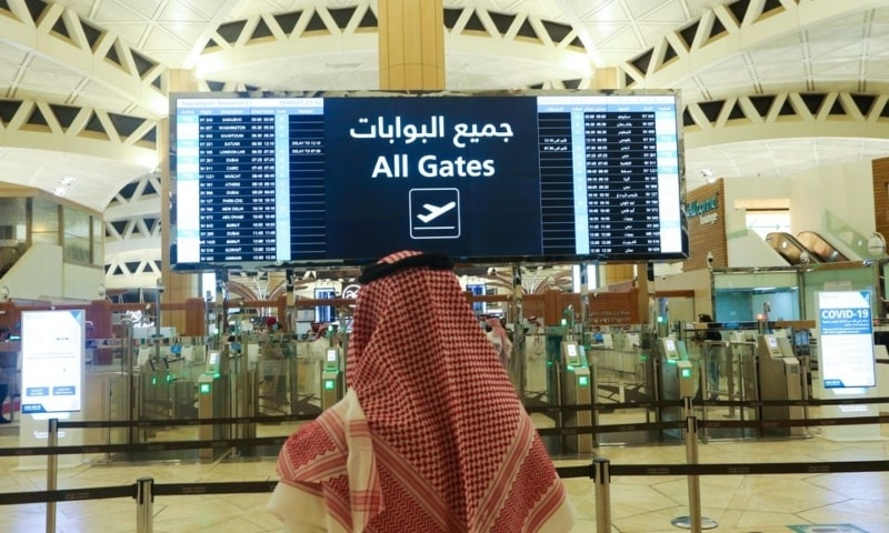 A Saudi man checks the flight timings at the King Khalid International Airport, after Saudi authorities lifted the travel ban on its citizens after fourteen months due to Covid-19 restrictions, in Riyadh, Saudi Arabia, May 16. — Reuters