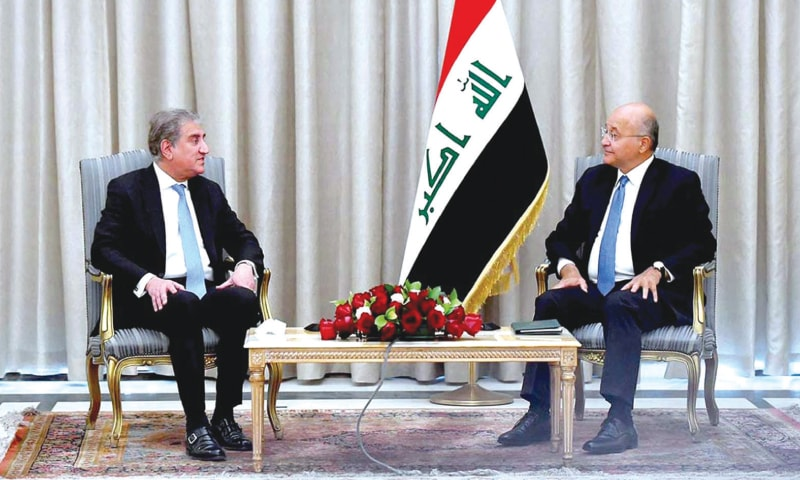 BAGHDAD: Foreign Minister Shah Mahmood Qureshi calls on Iraq's President Barham Salih at the Presidential Palace on Saturday.—APP
