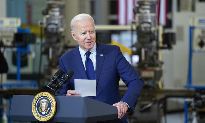 US President Joe Biden delivers remarks on the economy at the Cuyahoga Community College Metropolitan Campus on Thursday. — AP