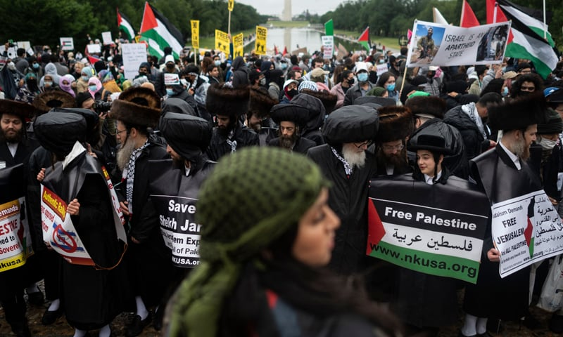 Supporters of Palestine hold a rally at the Lincoln Memorial in Washington, DC. — AFP
