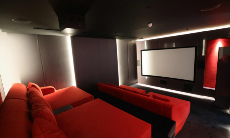 This picture shows the private cinema of a luxury villa for sale in Dubai. — AFP