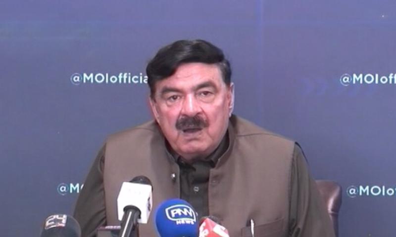 Interior Minister Sheikh Rashid Ahmed addresses a press conference in Islamabad. — DawnNewsTV