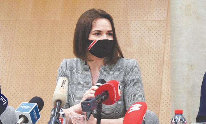 BELARUSIAN opposition figure Sviatlana Tsikhanouskaya speaks during a news conference with US Senators.—Reuters