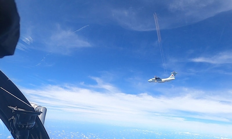 his handout photo from the Royal Malaysian Air Force taken on May 31, 2021 and released on June 1 shows a Chinese People's Liberation Army Air Force (PLAAF) Ilyushin Il-76 aircraft that Malaysian authorities said was in the airspace over Malaysia's maritime zone near the coast of Sarawak state on Borneo island. — AFP