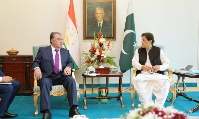 Tajik President Emomali Rahmon (L) and Prime Minister Imran Khan hold a meeting in Islamabad. — Picture courtesy Foreign Office
