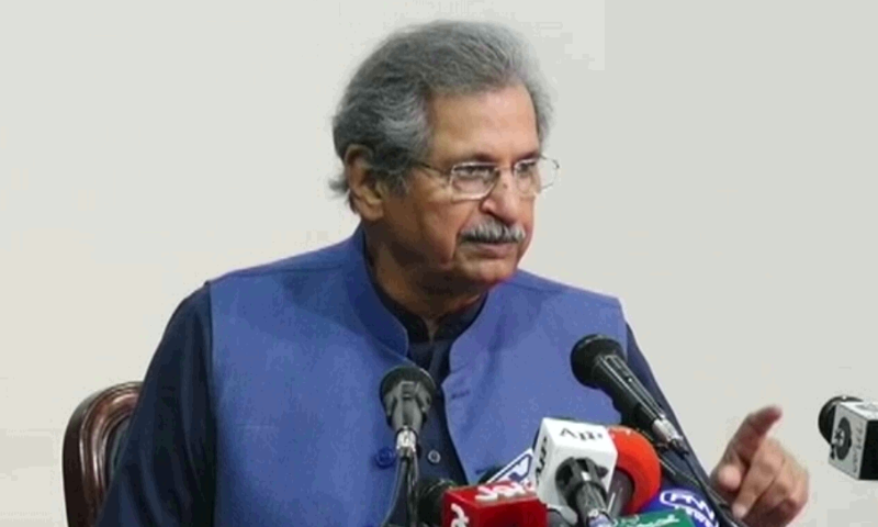 Minister for Education Shafqat Mahmood addresses a press conference in Islamabad on Wednesday. — DawnNewsTV
